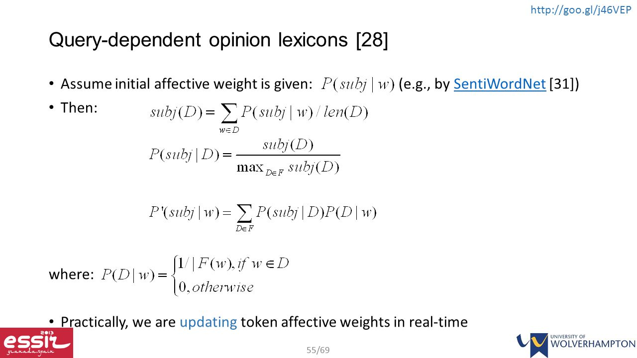 Query-dependent opinion lexicons [28]